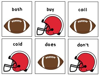 Superbowl Football Dash Second Grade Sight Words