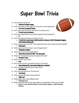 Superbowl Fun Facts and Trivia