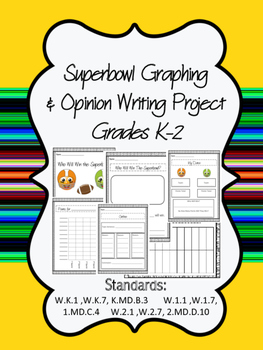 Superbowl Graphing and Opinion Writing Project K-2