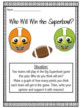 Superbowl Graphing and Opinion Writing Project K-5 BUNDLE!