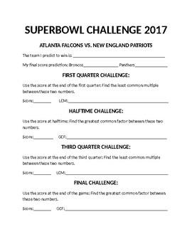 Superbowl Math Challenge