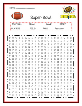 Superbowl Word Search
