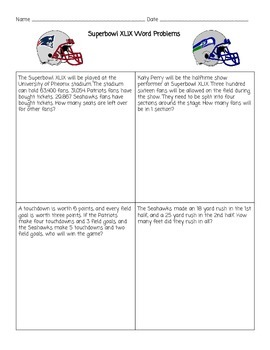 Superbowl XLIX Word Problems!
