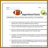 Superbowl Fun Facts Hand Out   Reading For Week Before Superbowl