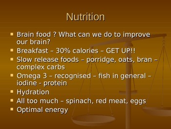 Superfoods and Nutrition - PPT - tips for life before and during exams