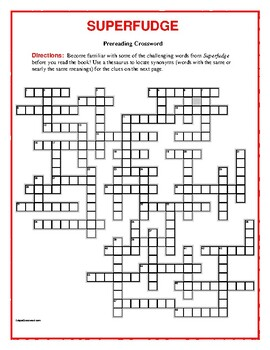 Superfudge: 50-word Prereading Crossword—Familiarizes students with new words!