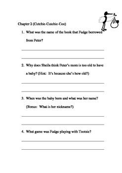 Superfudge Comprehension Packet