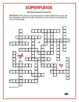 Superfudge: Synonym/Antonym Crossword Puzzle—Use with Bookmarks Plus!