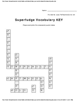 Superfudge Vocabulary Crossword Puzzle