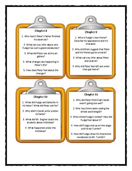 Judy Blume SUPERFUDGE - Discussion Cards