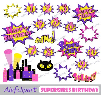 Supergirls Clipart/ Set Birthday for personal and commercial use