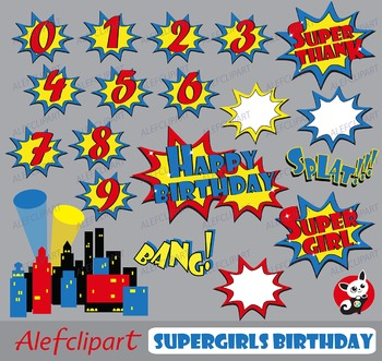 Supergirls Clipart/ Set Birthday for personal and commerci