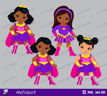 Supergirls  Pink, Blue, Purple, Multicultural Girls in superhero costume.