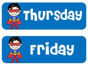 Superhero Theme   Superhero Days of the Week   Superhero Themed