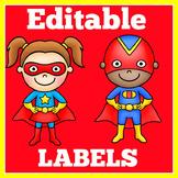 Superhero Labels | Super Hero Labels | Superhero Theme Labels