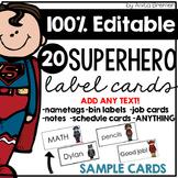 Superhero Labels EDITABLE
