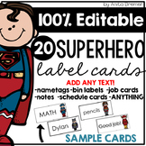Superhero Labels EDITABLE