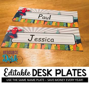 Nameplates Superhero 2 *EDITABLE VERSION*