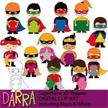 Superhero 2D Shapes Clip Art