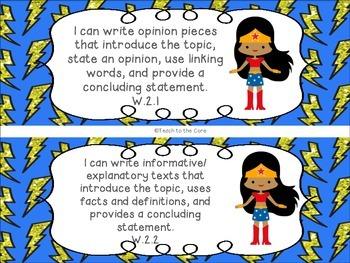 Superhero 2nd Grade ELA I Can Statements