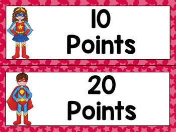 Superhero Reading Points Clip Chart (Editable)