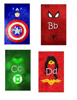 Superhero ABC and Number Cards