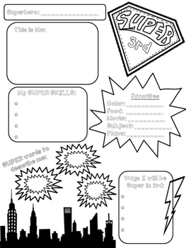 Superhero About Me Flyer a Back to School Activity