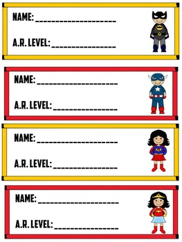 Superhero Accelerated Reader Student Reading Level Card