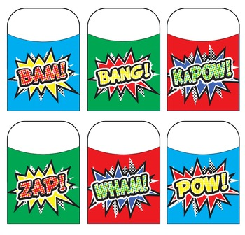 Superhero Action Bubble Library Pockets