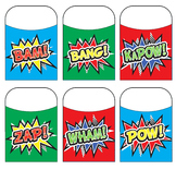 Superhero Action Bubble Library Pockets