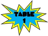 Superhero Action Table Numbers