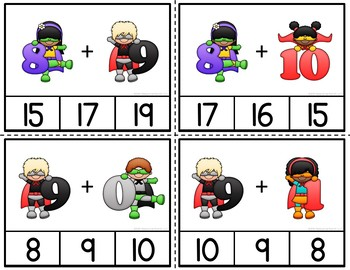 Superhero Addition Clip Cards
