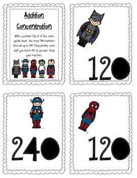Superhero Addition Concentration Harder