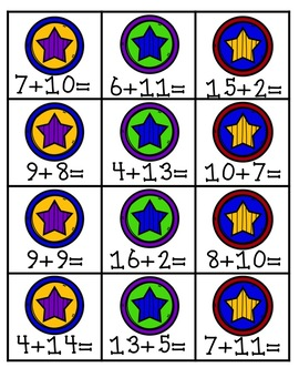 Superhero Addition Equation Sort: Sums 11-20
