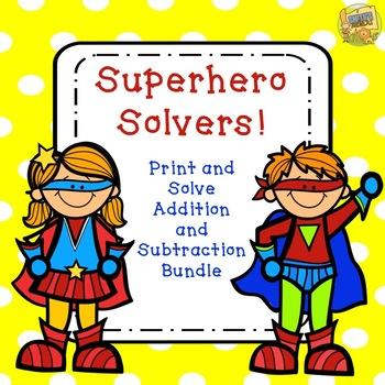 Superhero Addition/Subtraction BUNDLE!  Grade K-3 No Prep!