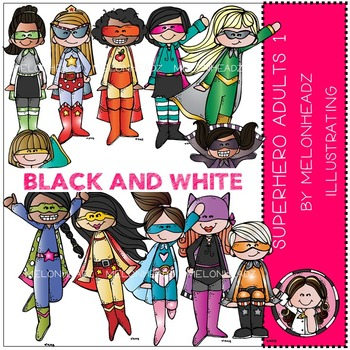 Superhero Adults 1 by Melonheadz BLACK AND WHITE