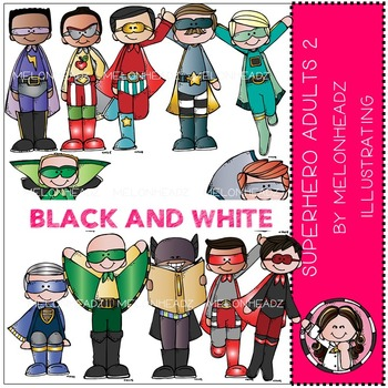 Superhero clip art - Adults 2 - BLACK AND WHITE- by Melonheadz