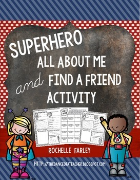 Superhero All About Me and Find a Friend Activity