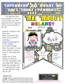 "Superhero ""All About Me Fact Sheet"" Class Pennant"