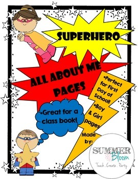 Superhero All About Me Pages- Boy and Girl