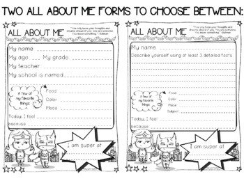 Superhero Theme All About Me and Back to School {A FREE Set}