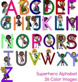 Superhero Alphabet, 26 Color Upper Case Clipart Images - C