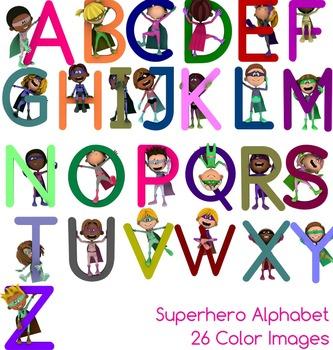 Superhero Alphabet, 26 Color Upper Case Clipart Images - Clip Art For Teachers