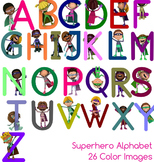 Superhero Alphabet, 26 Color Upper Case Clipart Images - C