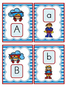 Superhero Alphabet Cards and Charts (D'Nealian and Zaner-Bloser manuscripts)