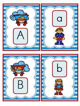 Superhero Alphabet Cards and Charts (D'Nealian and Zaner-Bloser manuscripts)
