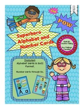 Superhero Alphabet Cards and Number Cards Through 20