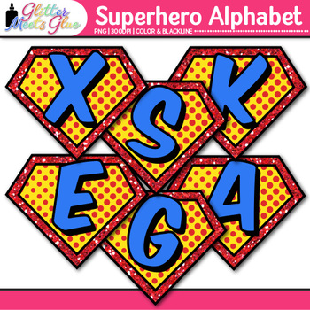 Superhero Alphabet Clip Art {Teach Letter Recognition and Identification}