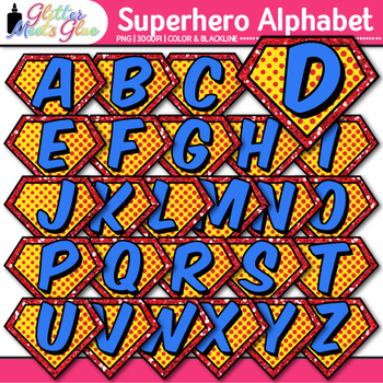 Superhero Alphabet Clip Art {Teach Letter Recognition and