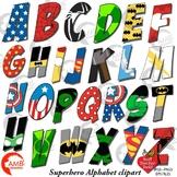 Superhero Alphabet Clipart, Uppercase Letters, {Best Teach